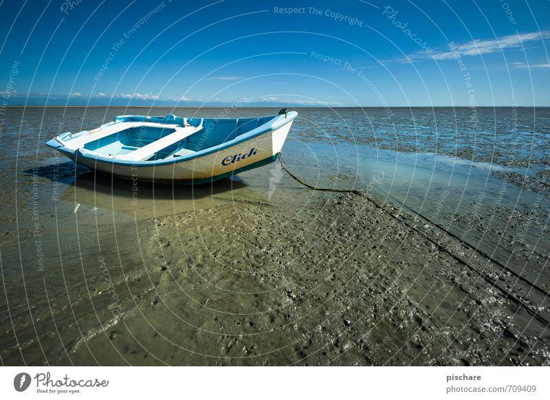 Click Landschaft Strand Küste Horizont Hoffnung Ruderboot Misserfolg Endzeitstimmung Missgeschick Ebbe
