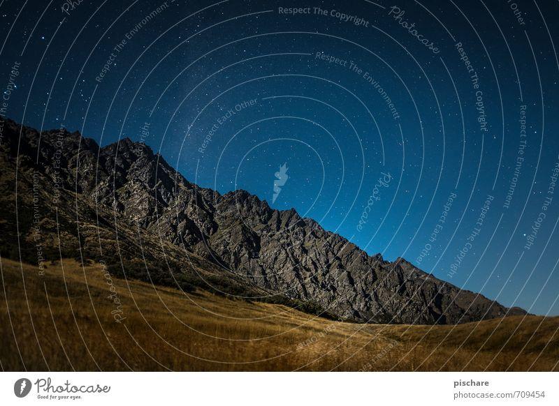 Remarkables / Night Natur Ferien & Urlaub & Reisen Landschaft dunkel Berge u. Gebirge Wiese außergewöhnlich Schönes Wetter Stern Abenteuer Nachthimmel
