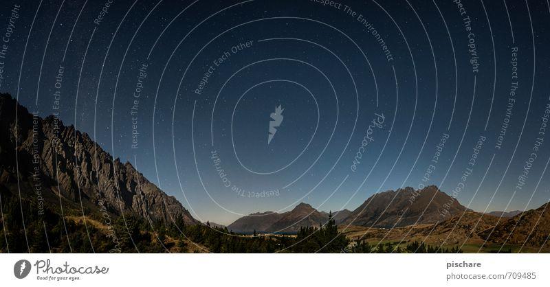 Remarkables Ferien & Urlaub & Reisen schön Landschaft dunkel Berge u. Gebirge Felsen Schönes Wetter Stern Abenteuer Nachthimmel Neuseeland Vollmond