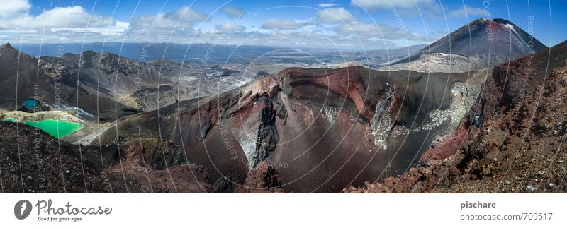 Tongariro Natur Landschaft außergewöhnlich See Felsen Urelemente Abenteuer eckig Vulkan Neuseeland