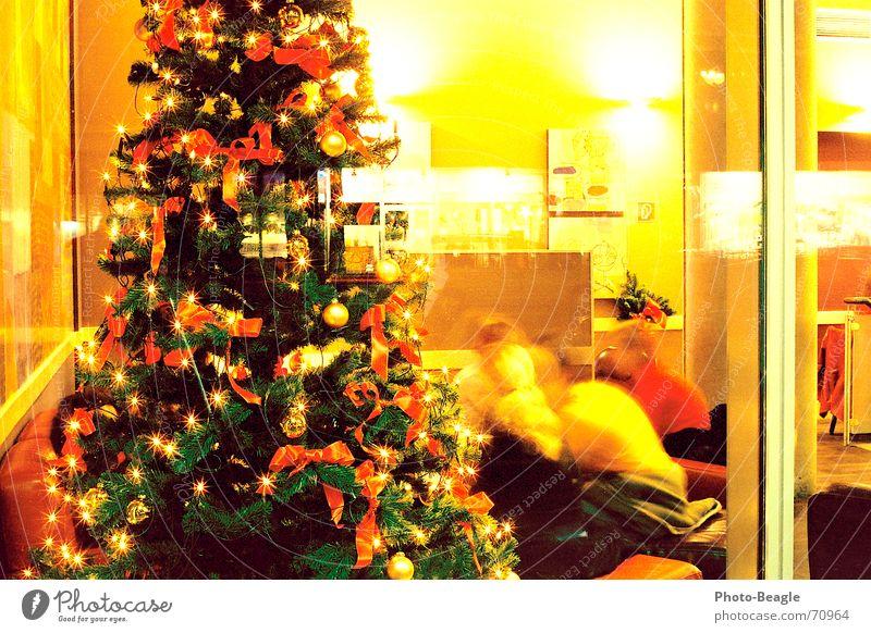 Weihnachtscafé Mensch Mann Weihnachten & Advent Winter ruhig Erholung sprechen Wärme Lebensmittel Ernährung Pause Kerze Freundlichkeit Physik Weihnachtsbaum Tee