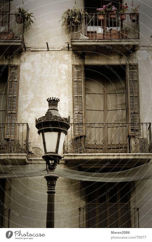 Noch kein Titel Laterne Barcelona Fenster Haus Wand Stadt Blume Topf Blumentopf Fensterladen Lampe Straße