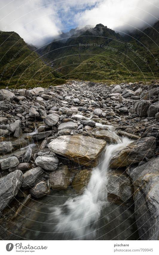 Quelle Natur Wasser Landschaft ruhig Berge u. Gebirge natürlich Felsen Urelemente Abenteuer Wasserfall Neuseeland
