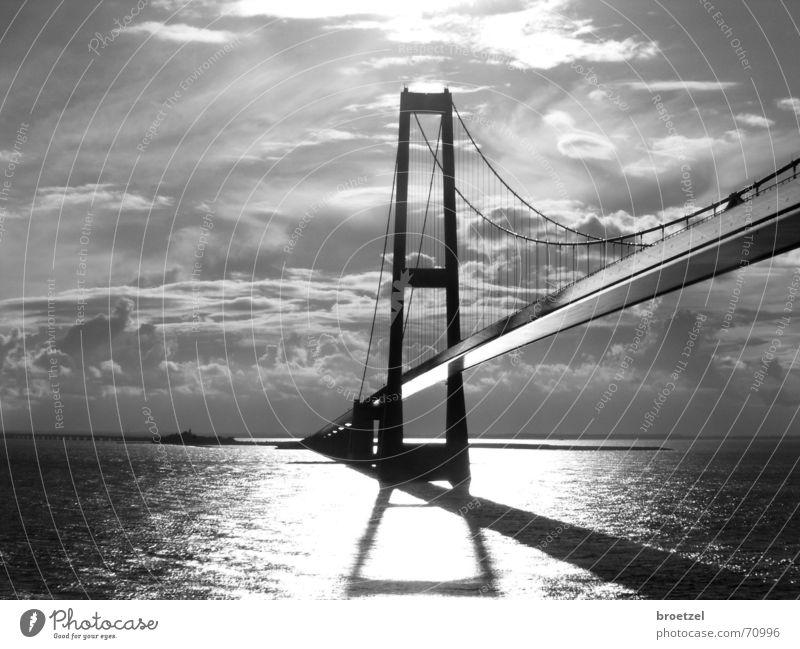 Storebaelt Meer Wasser Himmel Wolken Ostsee Brücke Architektur fahren Hängebrücke Großer Belt Schwarzweißfoto Gegenlicht