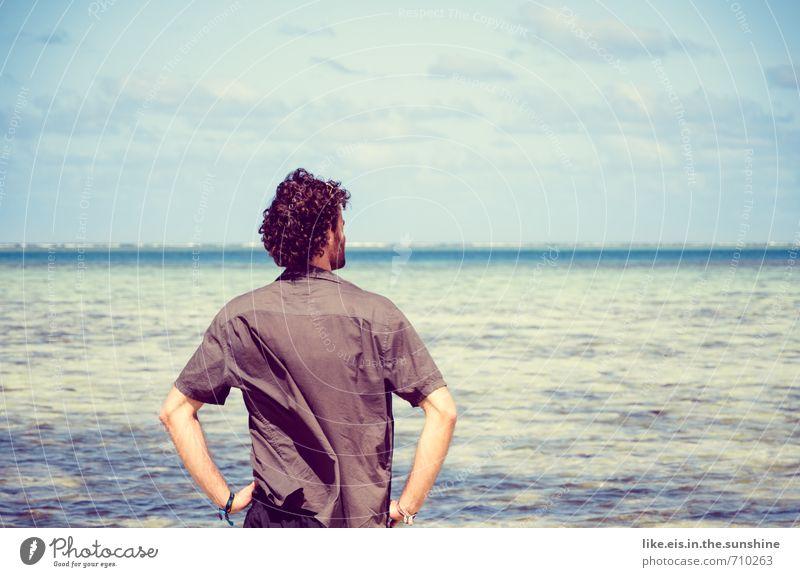 ein schiff wird kommen... Mensch Jugendliche Ferien & Urlaub & Reisen Mann schön Sommer Sonne Meer Erholung ruhig 18-30 Jahre Ferne Strand Junger Mann