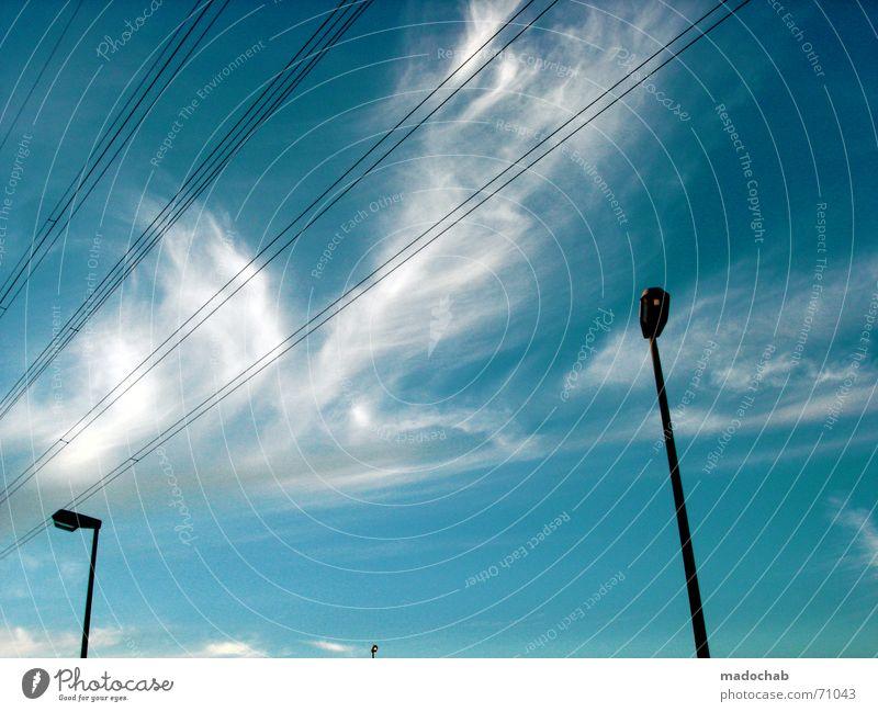 ALL IS FULL OF LOVE  liebe himmel sky clouds wolken flirt single Himmel blau Wolken Spielen Linie Romantik 3 Streifen Kabel Laterne Partnerschaft Richtung Partner Single links rechts