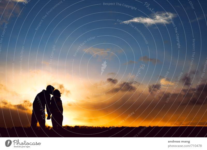 ein bisschen Kitsch darf auch mal sein... Mensch Gefühle Liebe Glück Horizont Paar Freundschaft Zusammensein genießen Warmherzigkeit Lebensfreude Schutz