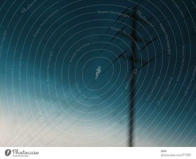 lost 12 Telefonmast Strommast Elektrizität grau Nebel Geschwindigkeit Autobahn verschwimmen träumen nass Trauer Landschaft Straße Ferien & Urlaub & Reisen Regen