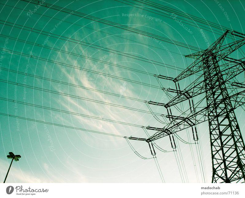 GESTATTEN MADOSKY | himmel sky wolken clouds strom elektrizität Himmel grün Wolken Wetter Kraft Energiewirtschaft Elektrizität Laterne Stahl türkis Eisen Saft
