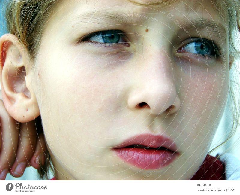 blassklarer trauerblick Mensch Kind Mädchen Auge Traurigkeit hell nachdenklich Ohr Lippen Gesichtsausdruck 8-13 Jahre bleich Sorge Anschnitt Gesichtsausschnitt