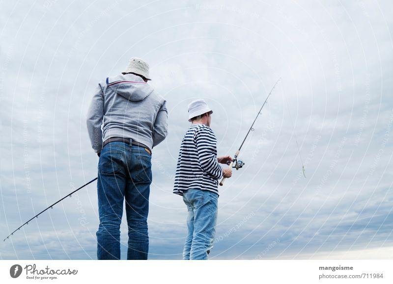Seemänner / Ladoga Mensch Jugendliche Mann blau Junger Mann Meer Wolken Ferne 18-30 Jahre Erwachsene Küste Freundschaft Freizeit & Hobby maskulin Kultur