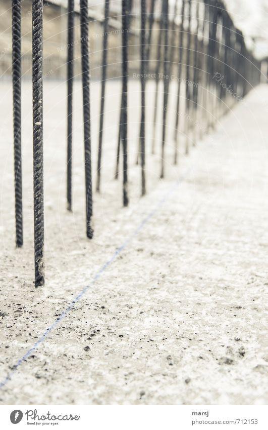Immer schön der Reihe nach Haus schwarz dunkel kalt grau Linie Metall Arbeit & Erwerbstätigkeit stehen Perspektive Beton einfach Baustelle planen dünn stark