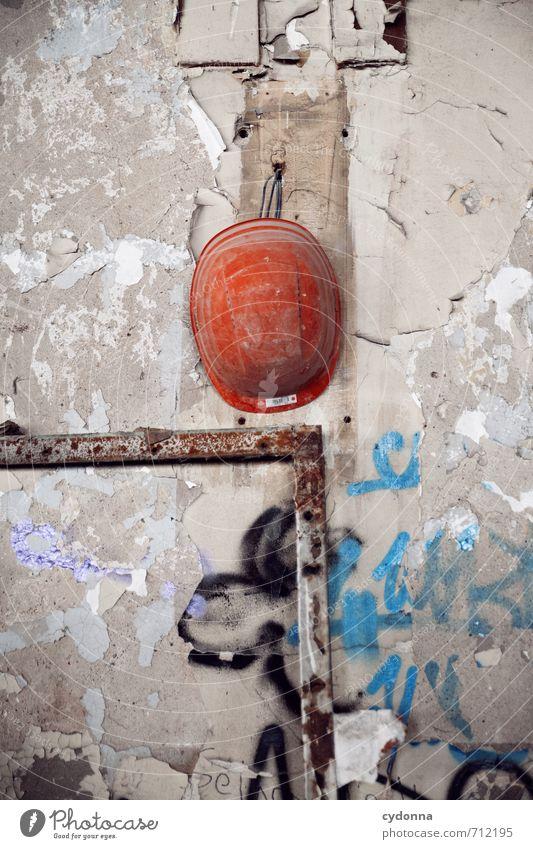HALLE/S TOUR | Am Nagel hängen Einsamkeit Wand Mauer Arbeit & Erwerbstätigkeit Vergänglichkeit Pause Schutz Baustelle Sicherheit planen Fabrik Verfall Handwerk
