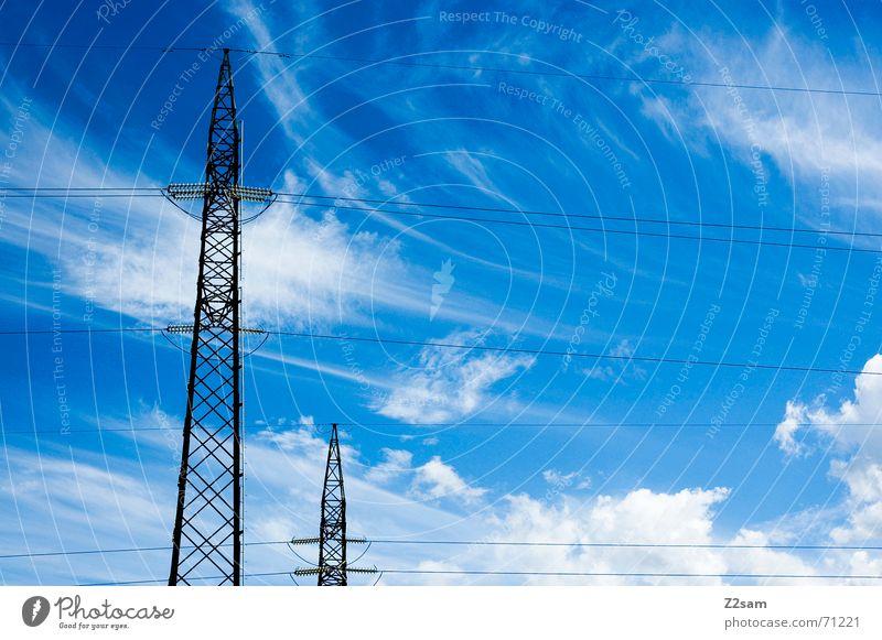 brothers Elektrizität Strommast Wolken Himmel Leitung Verbindung Linie sky clouds blau blue electricity