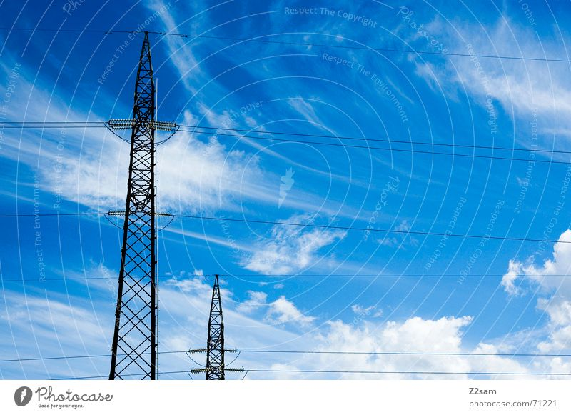 brothers Himmel blau Wolken Linie Elektrizität Verbindung Strommast Leitung
