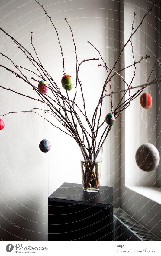 :-) Lifestyle Stil Häusliches Leben Dekoration & Verzierung Ostern Frühling Ast Zweige u. Äste Fenster Vase Blumenvase hängen einfach schön mehrfarbig Gefühle