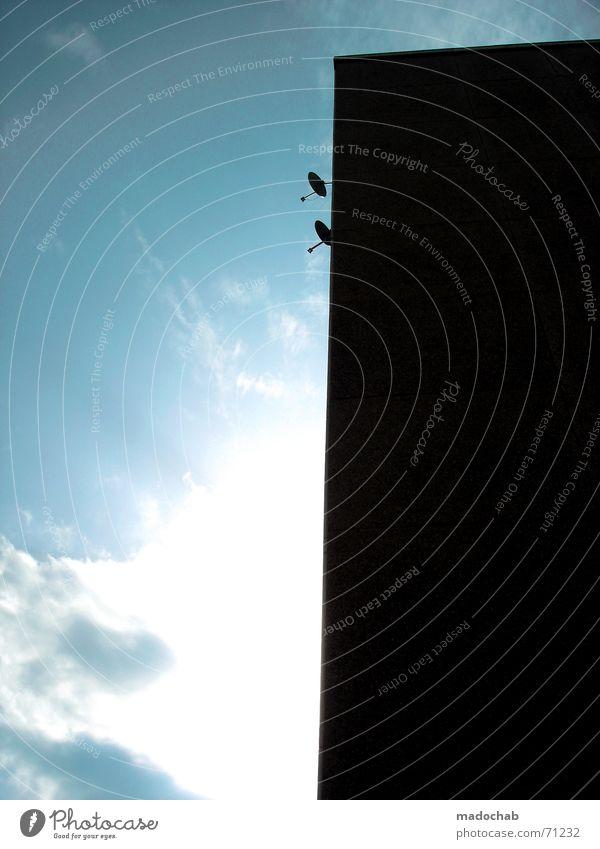 ICH SEHE ALLES | hochhaus gebäude buiding skyscraper wolken Himmel Sonne Wolken Auge Wand Beleuchtung Hochhaus modern offen Perspektive Sicherheit trist Technik & Technologie Industriefotografie Fernsehen