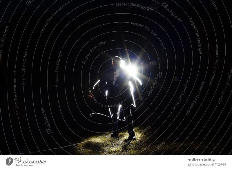 Unbekannte Lichtgestalt Mensch schwarz Körper leuchten stehen Weltall kommen anonym Existenz Raumfahrt Sonnenfinsternis