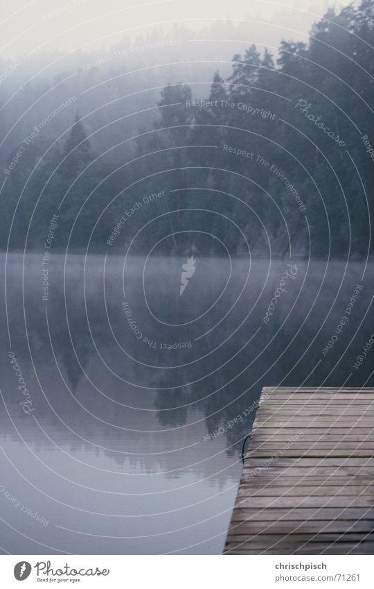 Steg am See Wasser Wolken Nebel Seil Wasserspiegelung