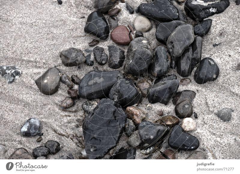 Steine Wasser Meer Strand See Sand glänzend nass mehrere viele Ostsee Verschiedenheit