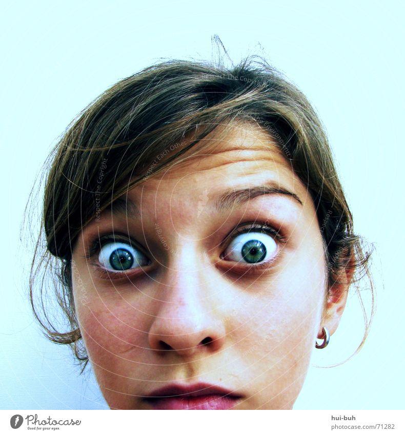 schrecken groß grün Augenbraue Schrecken zurück Blick Pupille Stirn kuller blau Haare & Frisuren Ohr Nase Angst weich kulleräugig runzeln Falte Ohrringe