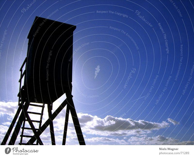1 Raumwohnung 3 Sonne blau Wolken dunkel Holz Feld Aussicht Amerika Leiter Jäger Hochsitz Stoppel