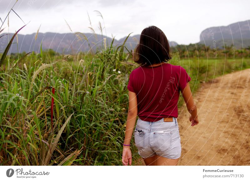 Viñales. (II) feminin Junge Frau Jugendliche Erwachsene 1 Mensch 13-18 Jahre Kind 18-30 Jahre Natur Landschaft Abenteuer Zufriedenheit wandern Valle de Viñales