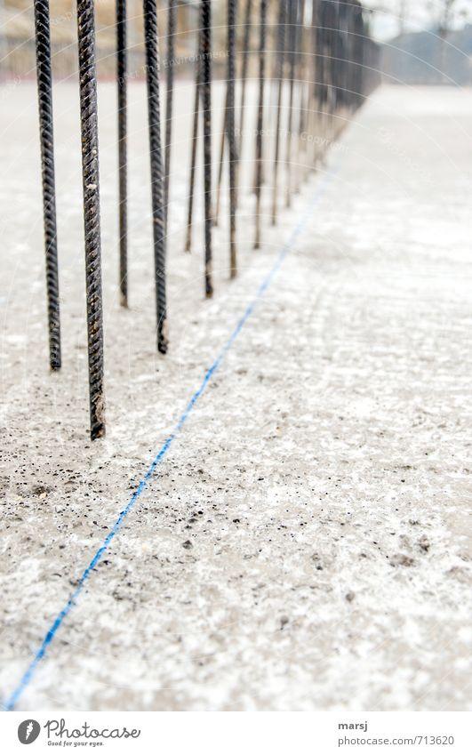 Gruppenfeeling | Einheit blau grau Linie Metall Arbeit & Erwerbstätigkeit Zusammensein Beton einfach Baustelle Beruf Bauwerk Stahl Arbeitsplatz einheitlich