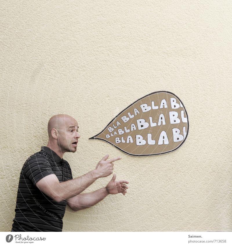 Reden ist Silber und Schweigen ist... Mensch Mann Erwachsene Kopf 1 18-30 Jahre Jugendliche T-Shirt Glatze sprechen schreien Konflikt & Streit Aggression