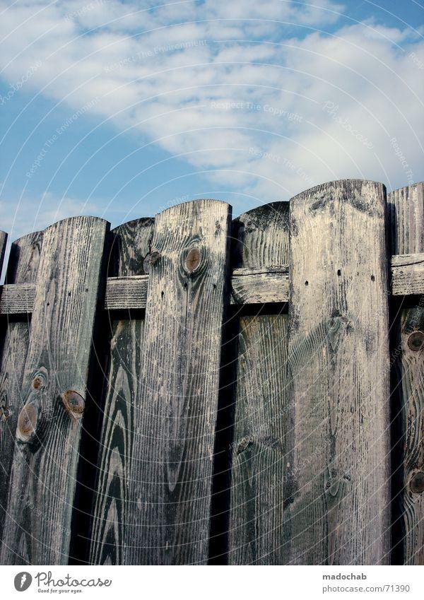 OHNE TITEL, MIT FEINDEN | holzzaun himmel wolken sky clouds Zaun Holz Holzbrett Wolken Grenze umfrieden einfach Pastellton schön lieblich harmonisch Nachbar