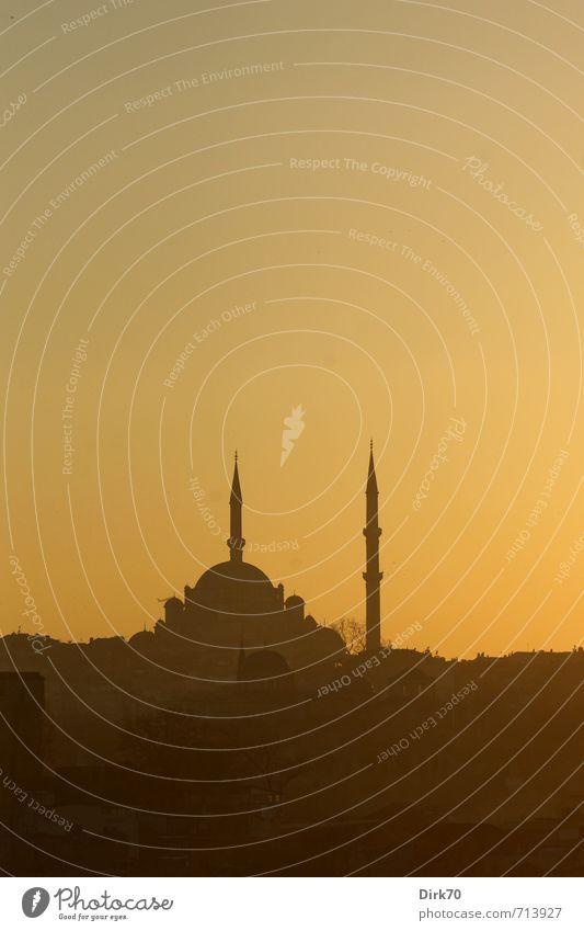Abendlicht im Morgenland I Wolkenloser Himmel Sonnenaufgang Sonnenuntergang Frühling Schönes Wetter Istanbul Türkei Turm Bauwerk Architektur Moschee Minarett