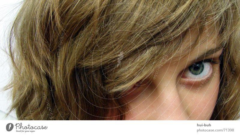 beobachtung Haare & Frisuren Lücke Missverständnis Neigung Auge Detailaufnahme Pony augenbraun Nase Mensch Angst Misstrauen