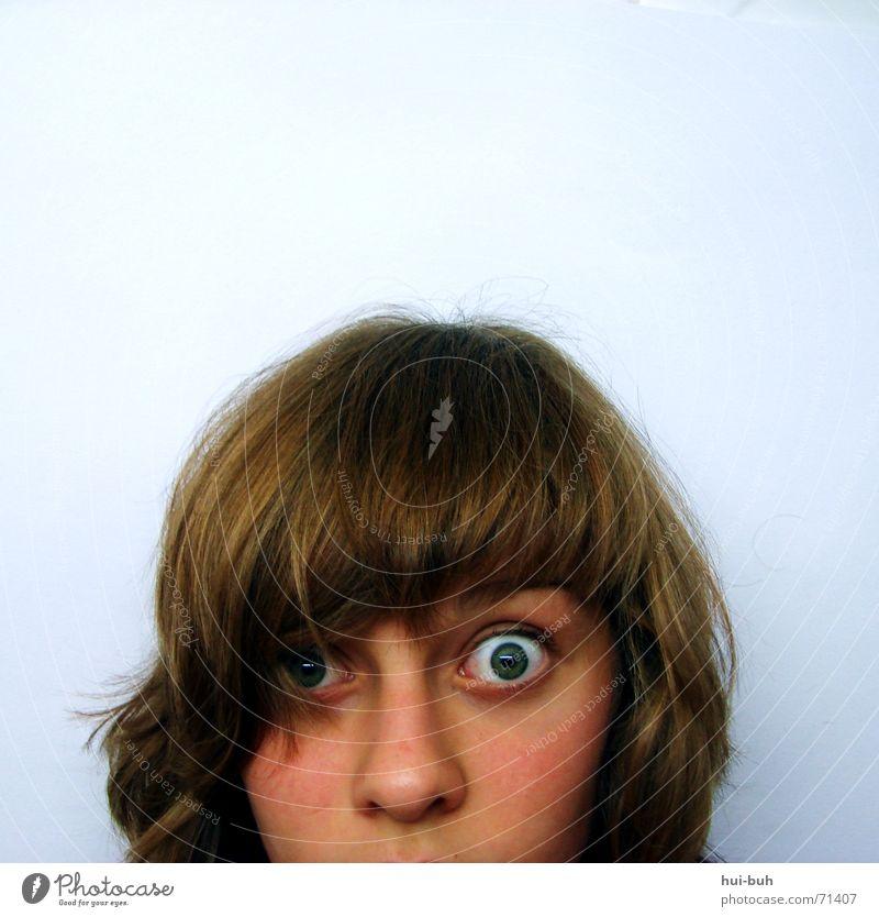 wer kommt denn da? Blick weiß Entsetzen Schielen Auge Haare & Frisuren anschnit Nase Pony Mensch