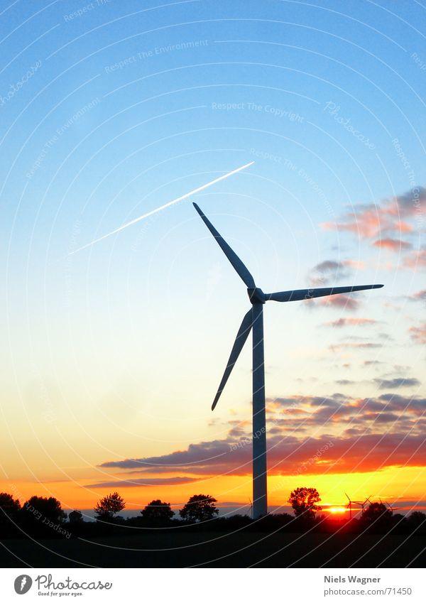 Alles nur mit Wind 2 Windkraftanlage Wiese grün Sonnenuntergang Gras rot Baum Flugzeug Himmel Abenddämmerung