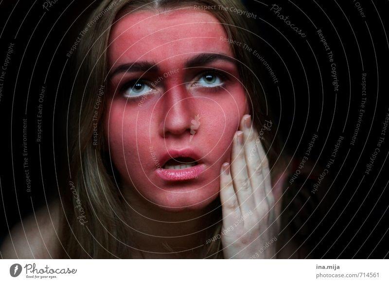 oh nein! Mensch feminin Junge Frau Erwachsene Haut 1 18-30 Jahre Jugendliche brünett berühren Blick Krankheit rot schwarz Gefühle Hoffnung träumen Traurigkeit