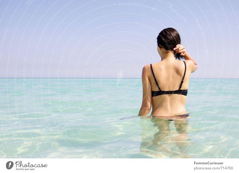 Beach Time! (IX) Mensch Frau Kind Jugendliche Ferien & Urlaub & Reisen schön Sommer Meer Erholung Junge Frau 18-30 Jahre schwarz Erwachsene feminin Glück Horizont