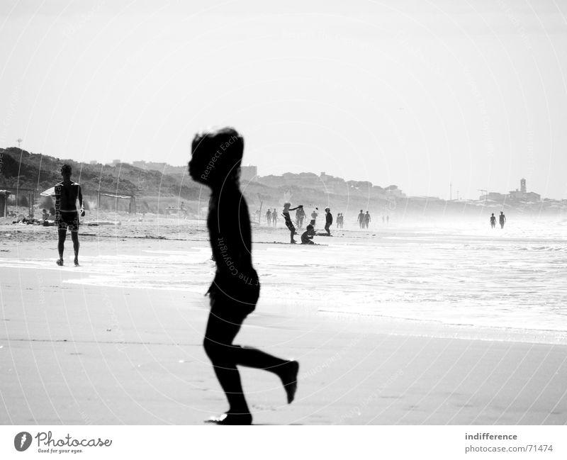 End of summer *serie* Sommer Strand child boy sea wave Sand black white blur walk