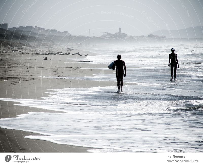 End of summer *serie* Mensch Strand Sommer Italien man woman wave sea water Sand tuscany
