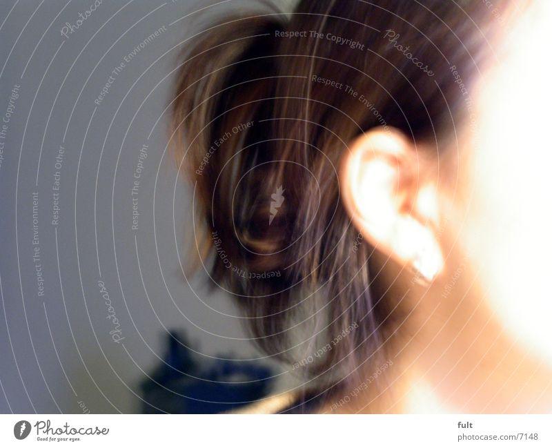 haare braun Frau Haare & Frisuren Ohr Haut Unschärfe