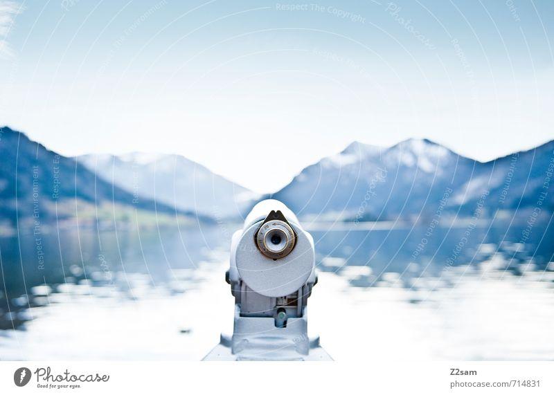 Gute Aussichten! Fernglas Umwelt Natur Landschaft Herbst Schönes Wetter Alpen Berge u. Gebirge Gipfel Seeufer Ferne frisch Unendlichkeit kalt blau ruhig Heimweh