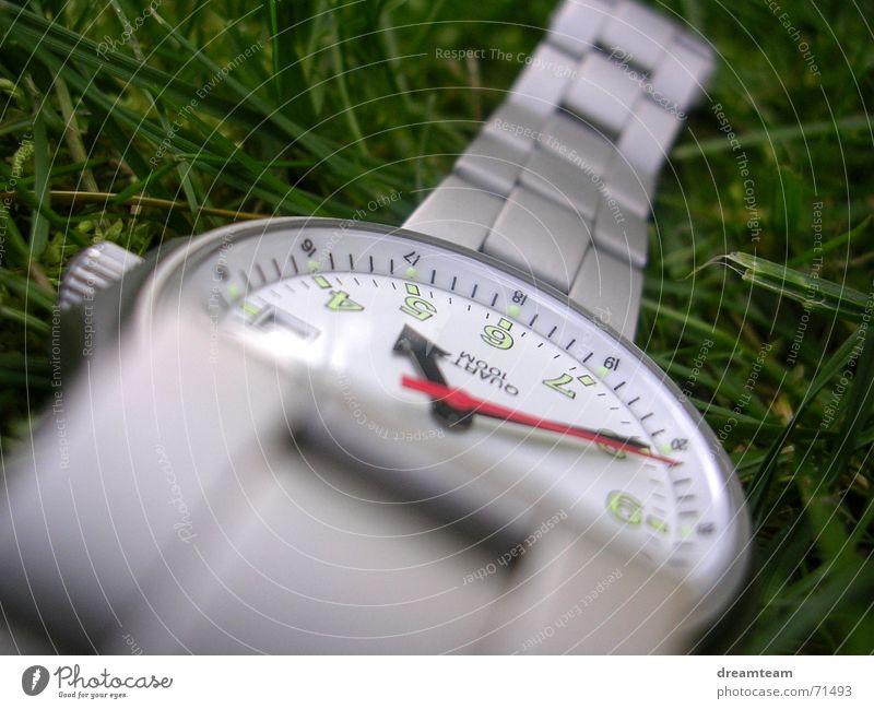Uhrengras Chrom Gras Zeit Ziffern & Zahlen grün Armband Gelenk Hand silber Metall Uhrenzeiger Rasen Glas Schnur Makroaufnahme Kreis