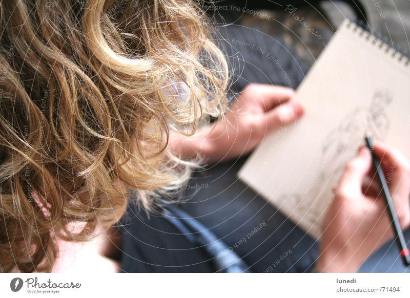 ...firenze...david... Frau Hand weiß blau Haare & Frisuren blond Jeanshose Bild streichen Italien Gemälde Schreibstift Skulptur Locken Block Zeichnung