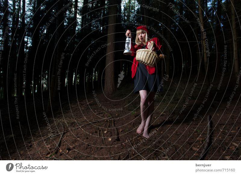 miles to go before I sleep Mensch Jugendliche Baum Einsamkeit rot Junge Frau Mädchen 18-30 Jahre dunkel Wald Erwachsene Gefühle feminin Lampe gehen Angst
