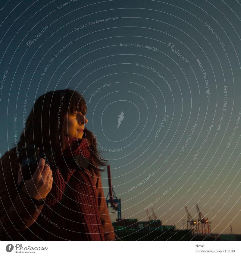 Abendlicht Güterverkehr & Logistik feminin Frau Erwachsene 1 Mensch Himmel Horizont Schönes Wetter Hamburg Hamburger Hafen Jacke Schal Fotokamera beobachten