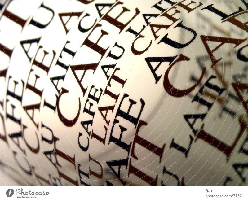 typo Stil Glas Schriftzeichen Buchstaben Dinge Café Typographie Versuch