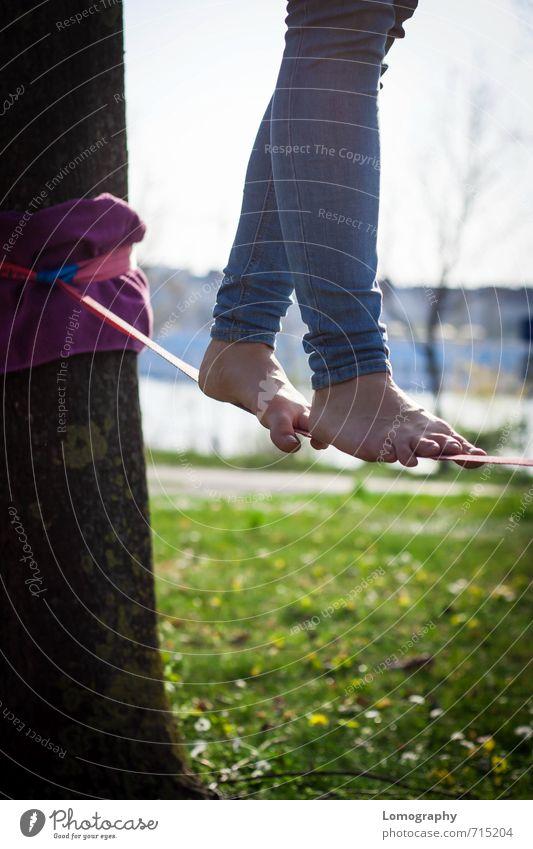 endlich Sommer Mensch feminin Junge Frau Jugendliche Erwachsene Beine Fuß 1 Park Wiese Fitness Sport sportlich Lebensfreude Freizeit & Hobby Gleichgewicht