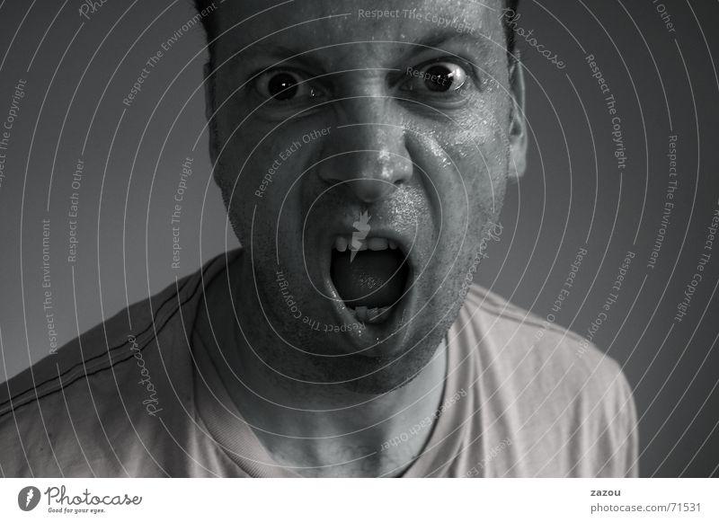 Hallo, ich bin der neue Nachbar;-) Mensch Mann Gesicht Auge Angst verrückt Gewalt Ärger Kerl Schrecken Schock transpirieren Schweiß grauenvoll durchdrehen