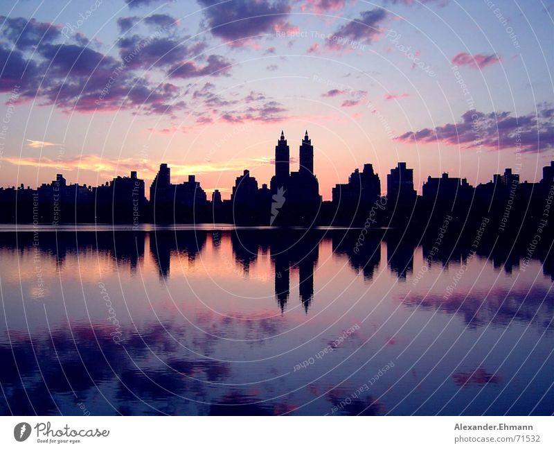 Central Park Sonnenuntergang Himmel Horizont Sonnenuntergang Skyline New York City Central Park
