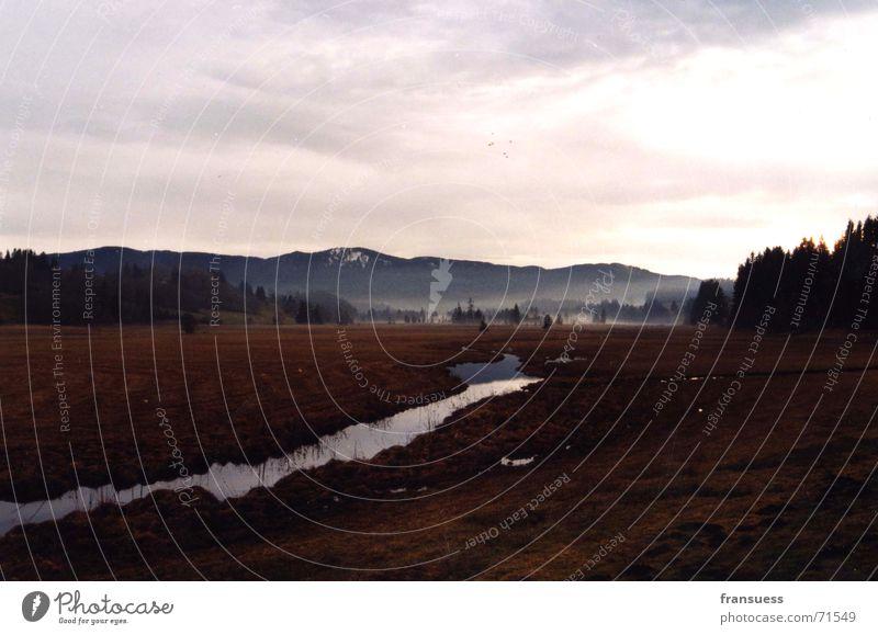 bayrisches idyll III Nebel Bayern Oberammergau Wald Hügel Wiese Landschaft Tal Berge u. Gebirge Fluss Natur berbayern