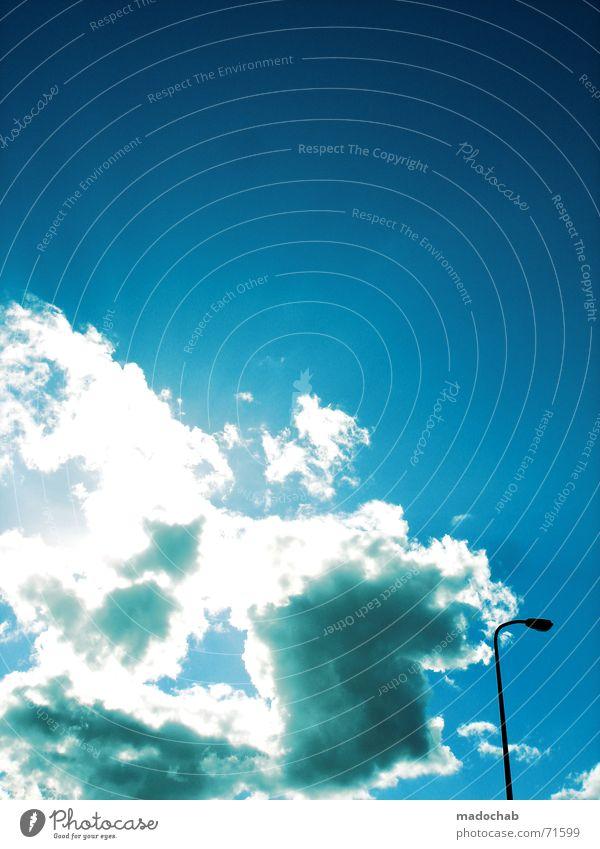 TOO DRUNK TO FUCK | wolken clouds sky himmel laterne blau Himmel Wolken Zufriedenheit Vertrauen Laterne